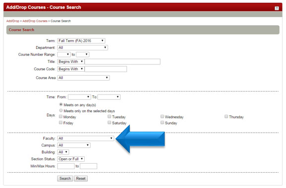 Click on the Faculty drop down box arrow to find your instuctor, and click Search.