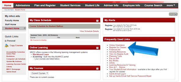 3. Click on Register for Classes under the Frequently Used Links